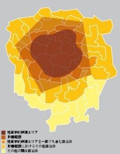 地域参加プロセスに参加する自治体の概念図 (連邦エネルギー庁(BFE)、特別計画「地層処分場」 方針部分(2008年4月2日)から引用)