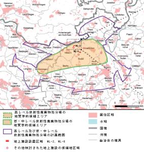 「北部レゲレンにおける地上施設設置区域の地理的状況」(NAGRAファクトシート「サイト地域北部レゲレンでの低中レベル/高レベル/共同放射性廃棄物用の地上施設設置区域NL-2」より作成)