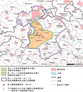 「チューリッヒ北東部における地上施設設置区域の地理的状況」(NAGRAファクトシート「サイト地域チューリッヒ北東部での低中レベル/高レベル/共同放射性廃棄物用の地上施設設置区域ZNO-6b」より作成)