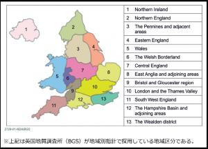 英国地質学的スクリーニング置ける地域区分