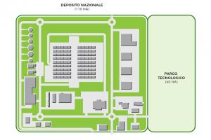 国家放射性廃棄物センターと隣接するテクノロジーパークの地図